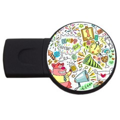 Doodle New Year Party Celebration Usb Flash Drive Round (4 Gb) by Celenk