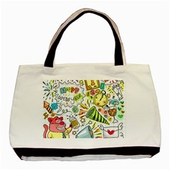 Doodle New Year Party Celebration Basic Tote Bag by Celenk