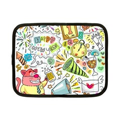 Doodle New Year Party Celebration Netbook Case (small)  by Celenk