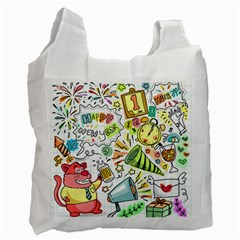 Doodle New Year Party Celebration Recycle Bag (one Side) by Celenk