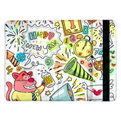 Doodle New Year Party Celebration Samsung Galaxy Tab Pro 12 2  Flip Case by Celenk