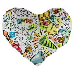 Doodle New Year Party Celebration Large 19  Premium Flano Heart Shape Cushions by Celenk