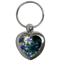 Fractal Painting Blue Floral Key Chains (heart)  by Celenk