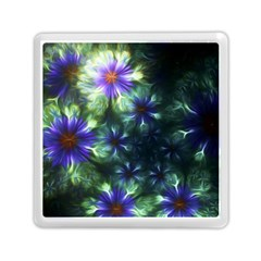 Fractal Painting Blue Floral Memory Card Reader (square)  by Celenk