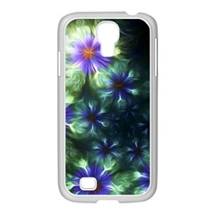 Fractal Painting Blue Floral Samsung Galaxy S4 I9500/ I9505 Case (white) by Celenk