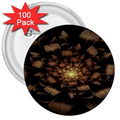 Fractal Flower Floral Bloom Brown 3  Buttons (100 Pack)  by Celenk