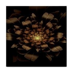 Fractal Flower Floral Bloom Brown Face Towel by Celenk