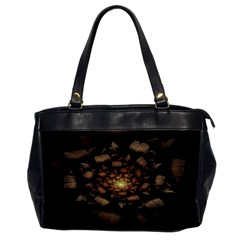 Fractal Flower Floral Bloom Brown Office Handbags by Celenk