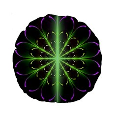Fractal Purple Lime Pattern Standard 15  Premium Round Cushions by Celenk