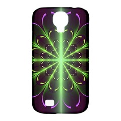 Fractal Purple Lime Pattern Samsung Galaxy S4 Classic Hardshell Case (pc+silicone) by Celenk