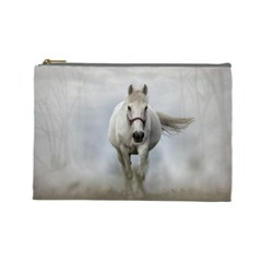 Horse Mammal White Horse Animal Cosmetic Bag (large)  by Celenk