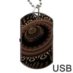 Fractal Stripes Abstract Pattern Dog Tag Usb Flash (one Side) by Celenk