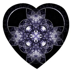 Fractal Blue Denim Stained Glass Jigsaw Puzzle (heart) by Celenk