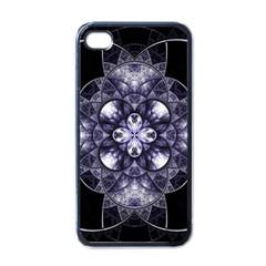 Fractal Blue Denim Stained Glass Apple Iphone 4 Case (black) by Celenk
