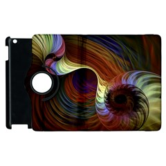 Fractal Colorful Rainbow Flowing Apple Ipad 3/4 Flip 360 Case by Celenk