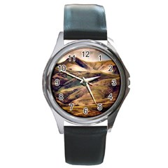 Iceland Mountains Sky Clouds Round Metal Watch by Celenk