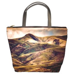 Iceland Mountains Sky Clouds Bucket Bags by Celenk