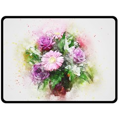 Flowers Roses Bouquet Art Nature Double Sided Fleece Blanket (large)  by Celenk