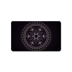 Fractal Mandala Circles Purple Magnet (name Card) by Celenk