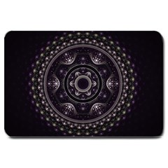 Fractal Mandala Circles Purple Large Doormat  by Celenk
