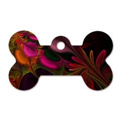 Fractal Abstract Colorful Floral Dog Tag Bone (one Side)