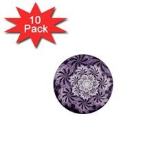 Fractal Floral Striped Lavender 1  Mini Magnet (10 Pack)  by Celenk