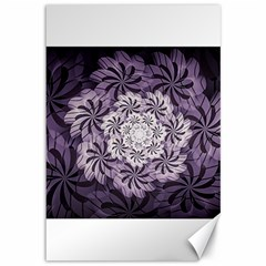 Fractal Floral Striped Lavender Canvas 12  X 18   by Celenk