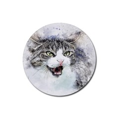 Cat Pet Art Abstract Watercolor Rubber Round Coaster (4 Pack)  by Celenk