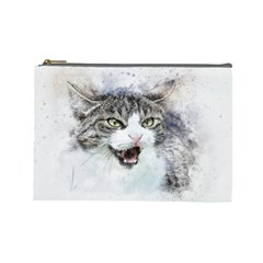 Cat Pet Art Abstract Watercolor Cosmetic Bag (large)  by Celenk