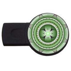 Fractal Mandala Green Purple Usb Flash Drive Round (4 Gb) by Celenk