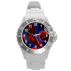 Fractal Abstract Pattern Circles Round Plastic Sport Watch (l) by Celenk