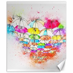 Umbrella Art Abstract Watercolor Canvas 8  X 10  by Celenk
