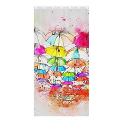 Umbrella Art Abstract Watercolor Shower Curtain 36  X 72  (stall)  by Celenk
