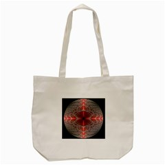Fractal Diamond Circle Pattern Tote Bag (cream) by Celenk