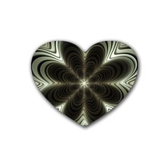 Fractal Silver Waves Texture Rubber Coaster (heart)