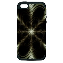 Fractal Silver Waves Texture Apple Iphone 5 Hardshell Case (pc+silicone) by Celenk