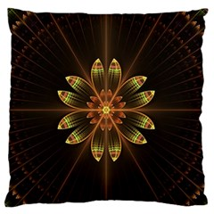 Fractal Floral Mandala Abstract Large Flano Cushion Case (two Sides) by Celenk