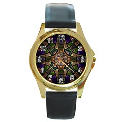 Fractal Detail Elements Pattern Round Gold Metal Watch by Celenk