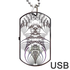 Fractal Delicate Intricate Dog Tag Usb Flash (one Side) by Celenk