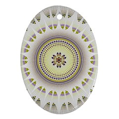 Mandala Fractal Decorative Oval Ornament (two Sides) by Celenk
