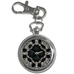 Fractal Aqua Silver Pattern Key Chain Watches by Celenk