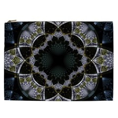Fractal Aqua Silver Pattern Cosmetic Bag (xxl)  by Celenk