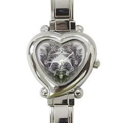 Fractal White Design Pattern Heart Italian Charm Watch by Celenk