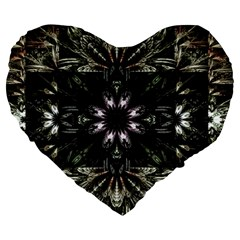 Fractal Design Pattern Texture Large 19  Premium Flano Heart Shape Cushions by Celenk
