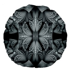 Fractal Blue Lace Texture Pattern Large 18  Premium Flano Round Cushions by Celenk