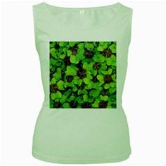 Luck Klee Lucky Clover Vierblattrig Women s Green Tank Top by Celenk