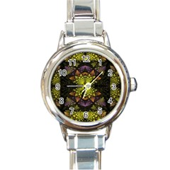 Fractal Multi Color Geometry Round Italian Charm Watch by Celenk