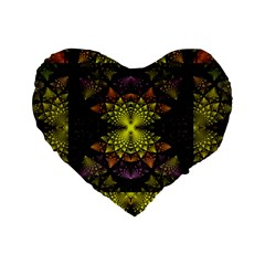 Fractal Multi Color Geometry Standard 16  Premium Flano Heart Shape Cushions by Celenk