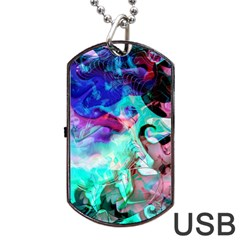 Background Art Abstract Watercolor Dog Tag Usb Flash (one Side) by Celenk