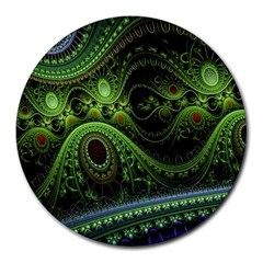 Fractal Green Gears Fantasy Round Mousepads by Celenk